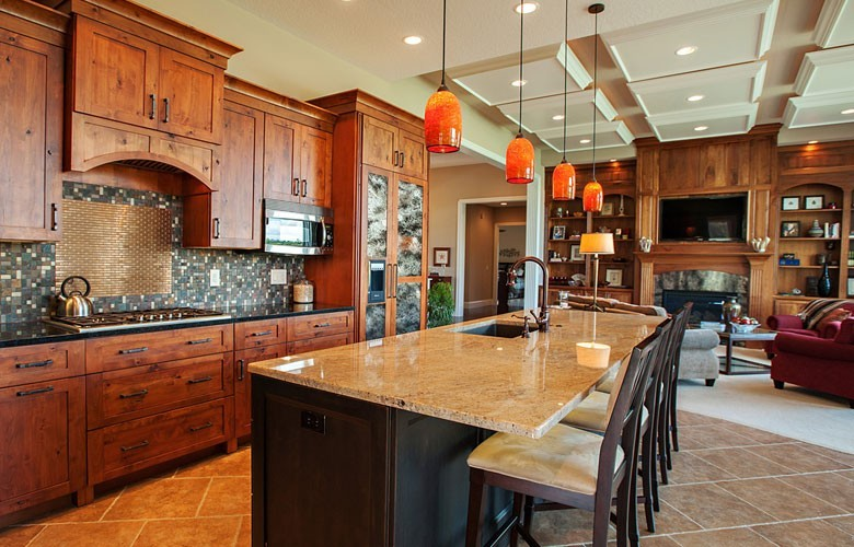 Gourmet kitchen with two ovens, granite countertops and Thermador appliances