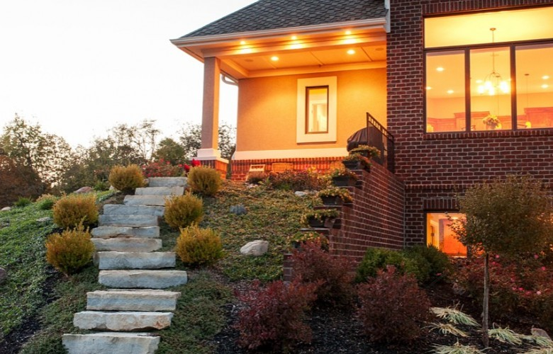 Walk-out lower level with custom landscape architecture
