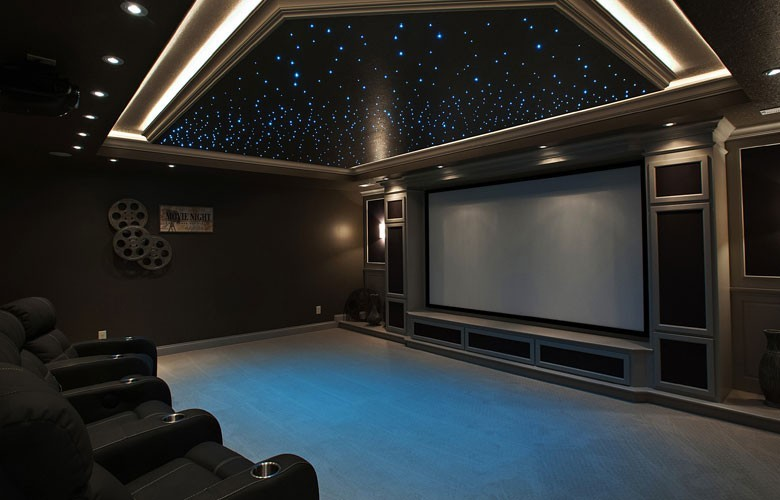 fully equipped home theatre with spectacular fiber optic star field