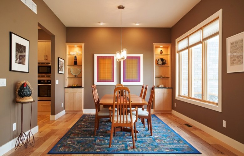 Dining Room with gorgeous natural hickory wood floor
